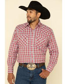Ely Walker Men's Multi Small Plaid Long Sleeve Western Shirt , Red, hi-res