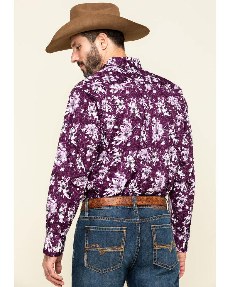 Ariat Men's Rio Stretch Floral Print Long Sleeve Western Shirt , Purple, hi-res
