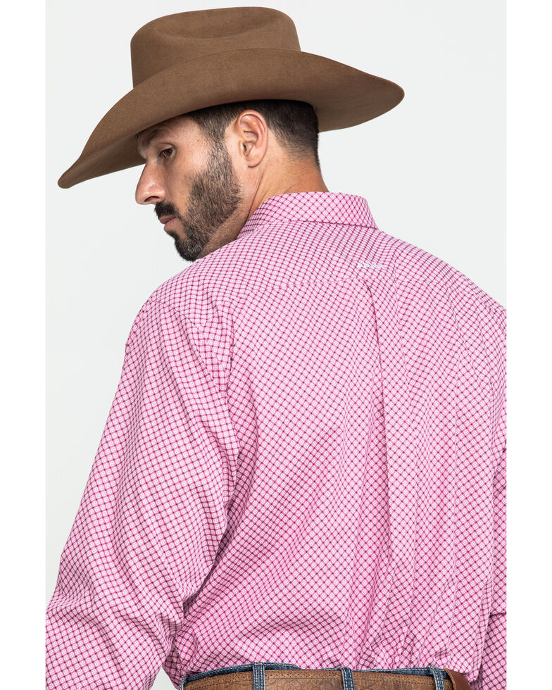 Ariat Men's Wrinkle Free Ipman Small Geo Print Long Sleeve Western Shirt , Pink, hi-res