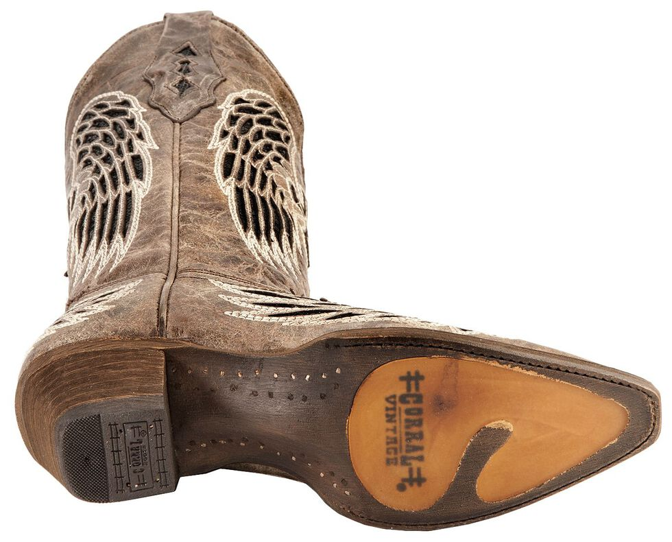 Corral Distressed Black Sequin Cross & Wing Inlay Cowgirl Boots - Snip Toe, Brown, hi-res