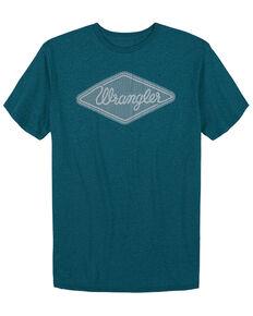 Wrangler Men's Heather Teal Diamond Logo Short Sleeve T-Shirt , Teal, hi-res