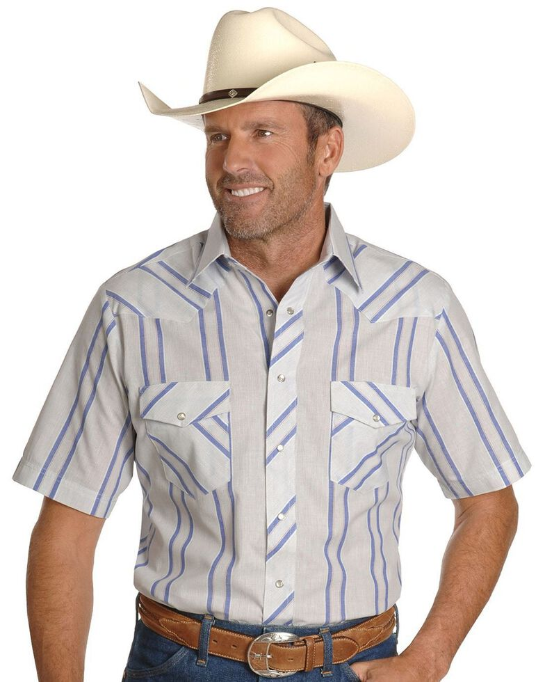 Wrangler Men's Assorted Classic Short Sleeve Western Shirt - Big & Tall, Stripe, hi-res