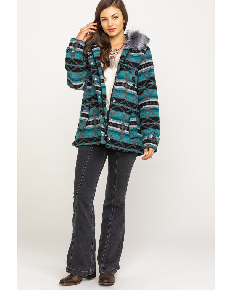 Outback Trading Co. Women's Turquoise Aztec Myra Jacket, Turquoise, hi-res