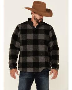 Wrangler Men's Charcoal Large Plaid 1/4 Zip Sherpa Pullover , Grey, hi-res