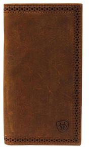 Ariat Perforated Edge Rodeo Wallet, Brown, hi-res