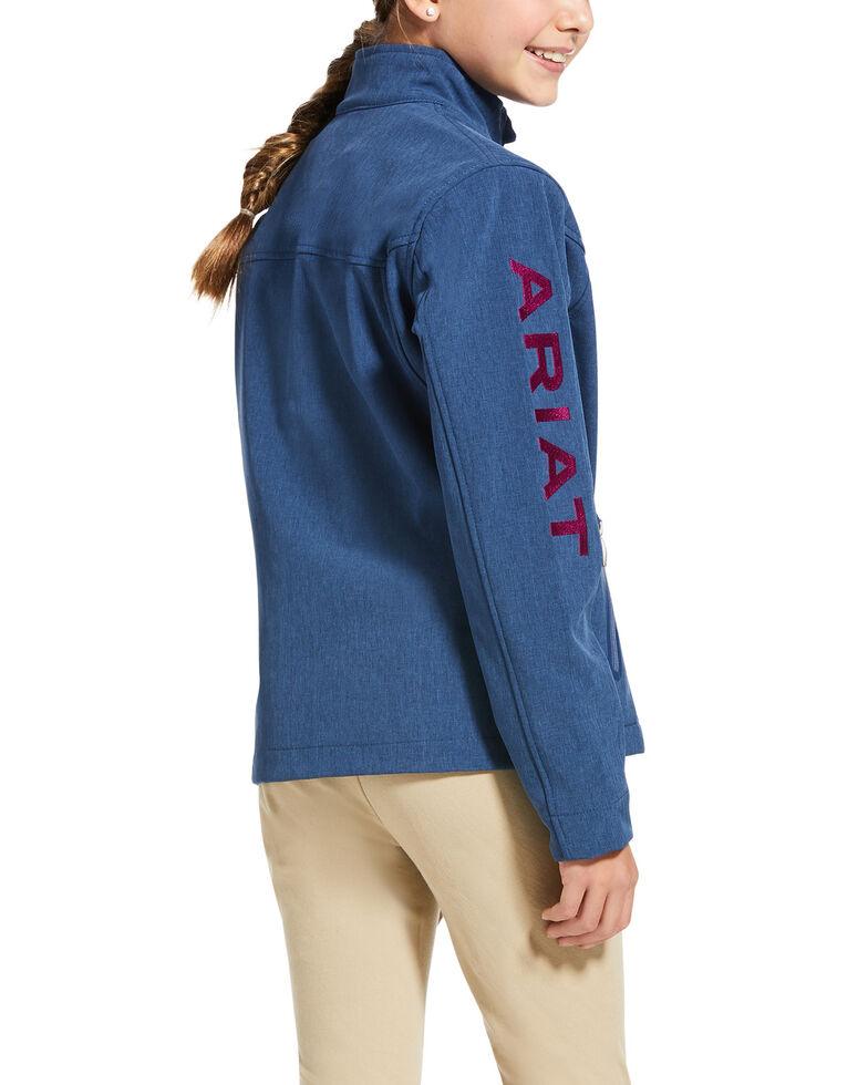 Ariat Girls' Marine Blue New Team Softshell Jacket, Blue, hi-res