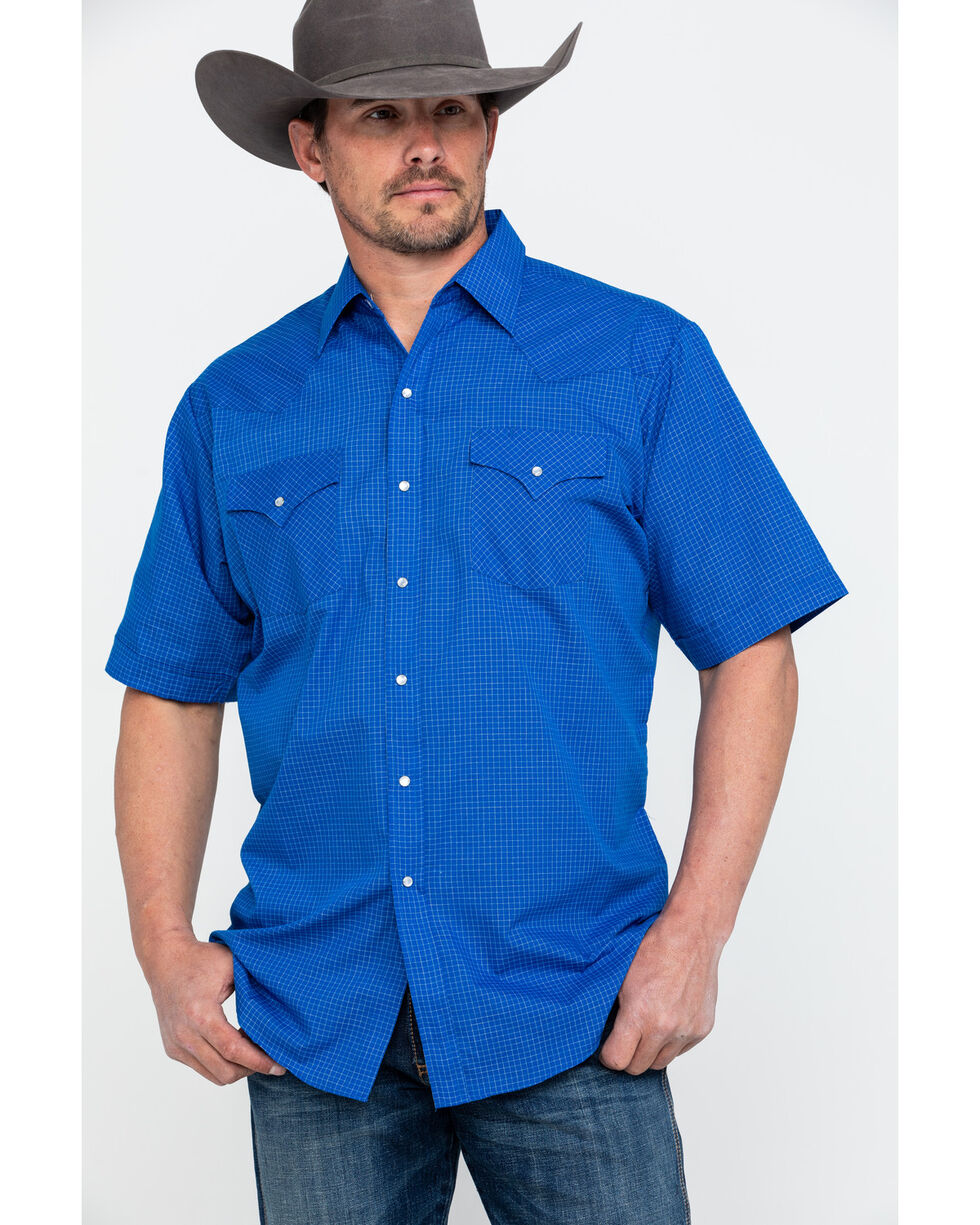 Ely Cattleman Men's Blue Small Check Plaid Short Sleeve Western Shirt , Blue, hi-res