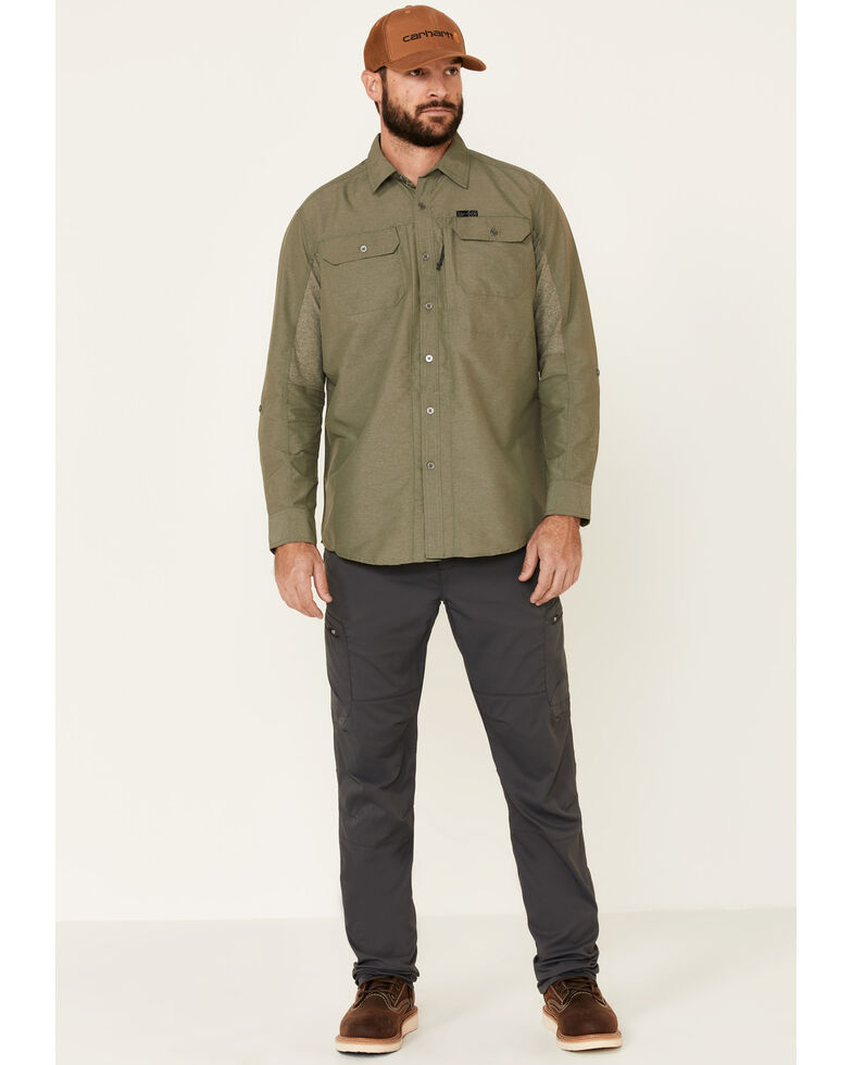 ATG™ by Wrangler Men's All Terrain Olive Mix Material Utility Long Sleeve Western Shirt, Multi, hi-res