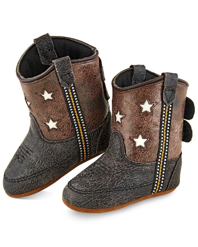 Old West Infant Boys' Black Crackle Poppet Boots - Round Toe, Brown, hi-res