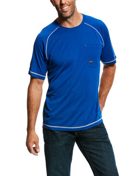 Ariat Men's Royal Rebar Sunstopper Short Sleeve Work Shirt - Tall , Blue, hi-res