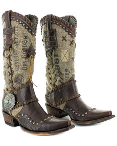 Double D Ranch by Old Gringo Women's Mercantile Makeshifter Western Boots - Snip Toe, Chocolate, hi-res