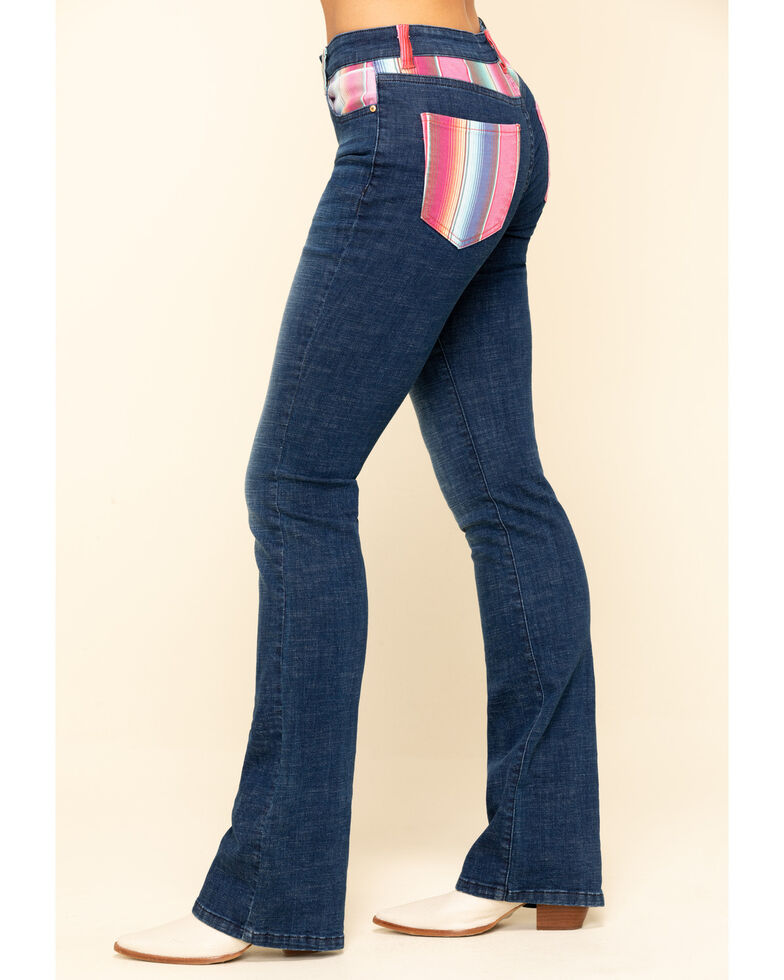 Ranch Dress'N Women's Serape Bootcut Jeans , Blue, hi-res