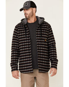 Hawx Men's Frederick's Mahogany Plaid Insulated Snap Front Hooded Work Shirt Jacket , Mahogany, hi-res