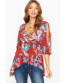 Shyanne Women's Floral Crinkle Cold Shoulder Blouse, Rust Copper, hi-res