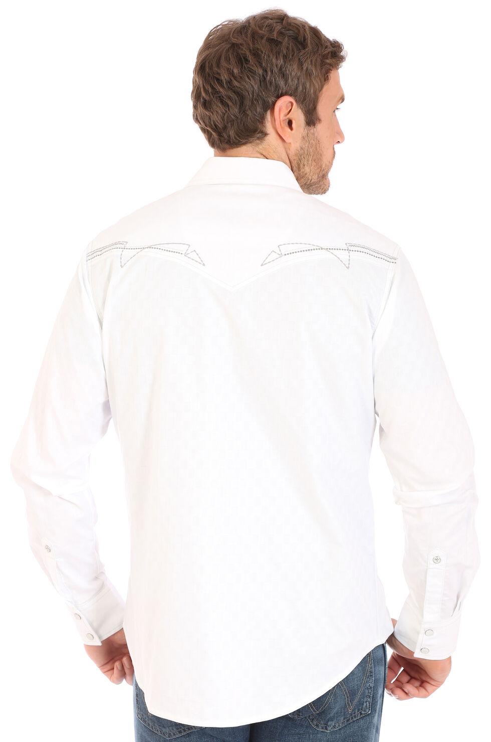 Wrangler Men's Rock 47 White Embroidered Stitch Long Sleeve Snap Shirt - Big & Tall, White, hi-res