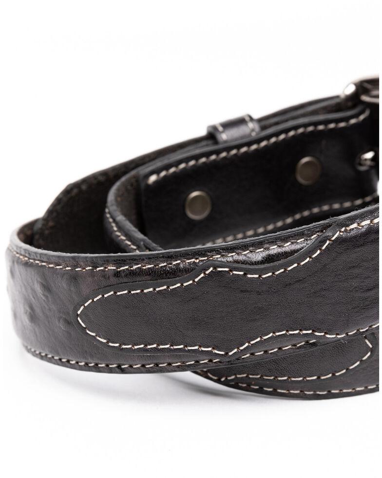 Cody James Boys' Black Ostrich Print Leather Western Belt , Black, hi-res