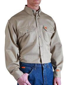 Wrangler Men's Flame Resistant Long Sleeve Work Shirt - Big , Beige/khaki, hi-res