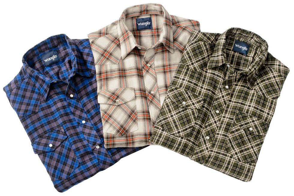 Wrangler Assorted Plaid 4.5 oz. Flannel Western Shirts, Plaid, hi-res