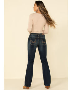 Rock & Roll Denim Women's Dark Wash Scroll Riding Jeans, Blue, hi-res