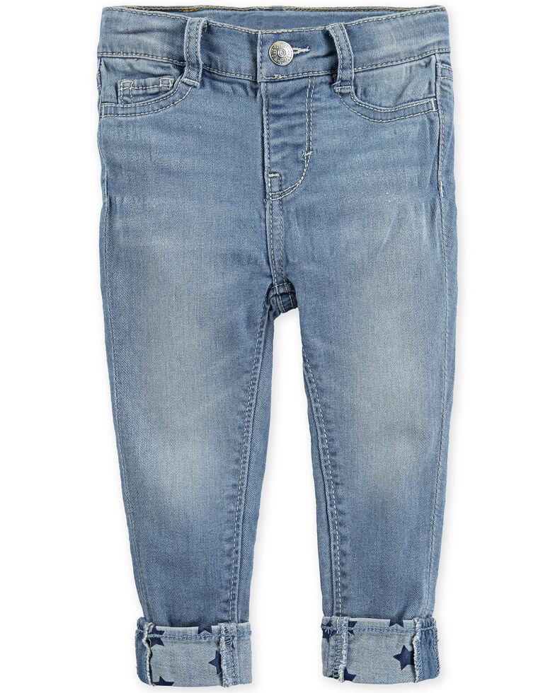 Levi's Infant Girls' 710 Light Wash Star Cuff Skinny Jeans, Blue, hi-res