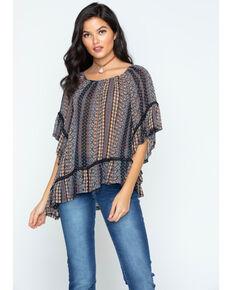 Cowgirl Up Women's Asymmetrical Hem Frill Sleeve Top, Black, hi-res