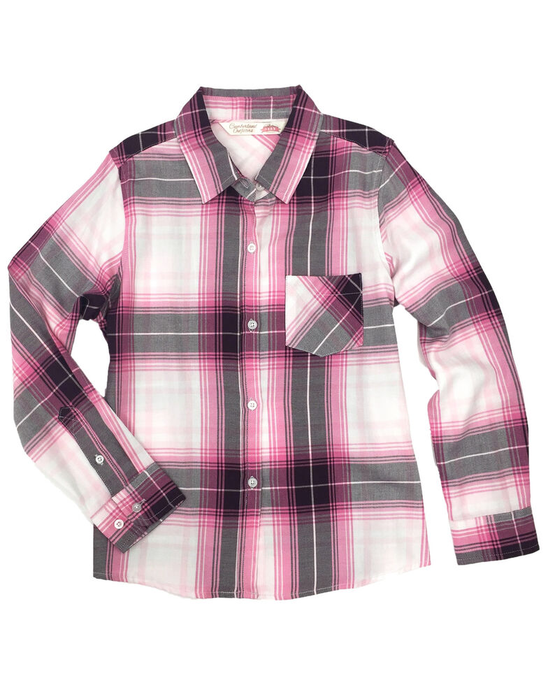 Ely Walker Girls' Pink Plaid Tie-Front Long Sleeve Western Shirt , Pink, hi-res