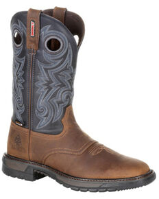 Rocky Men's Original Ride FLX Waterproof Western Work Boots - Soft Toe, Brown, hi-res
