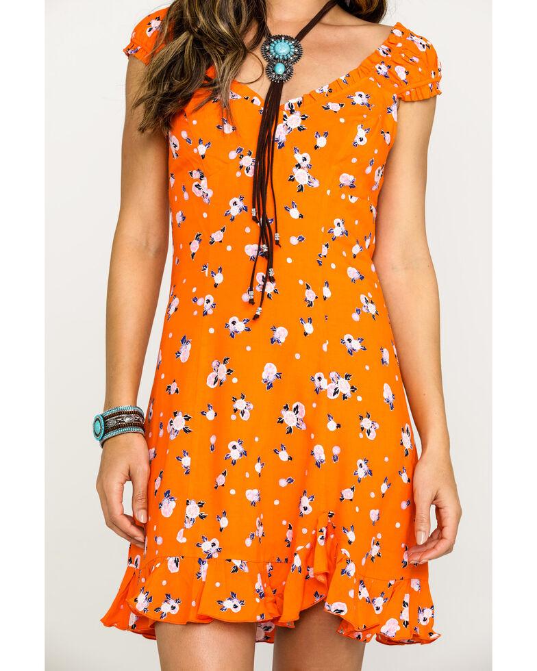Free People Women's Like A Lady Printed Mini Dress, Orange, hi-res