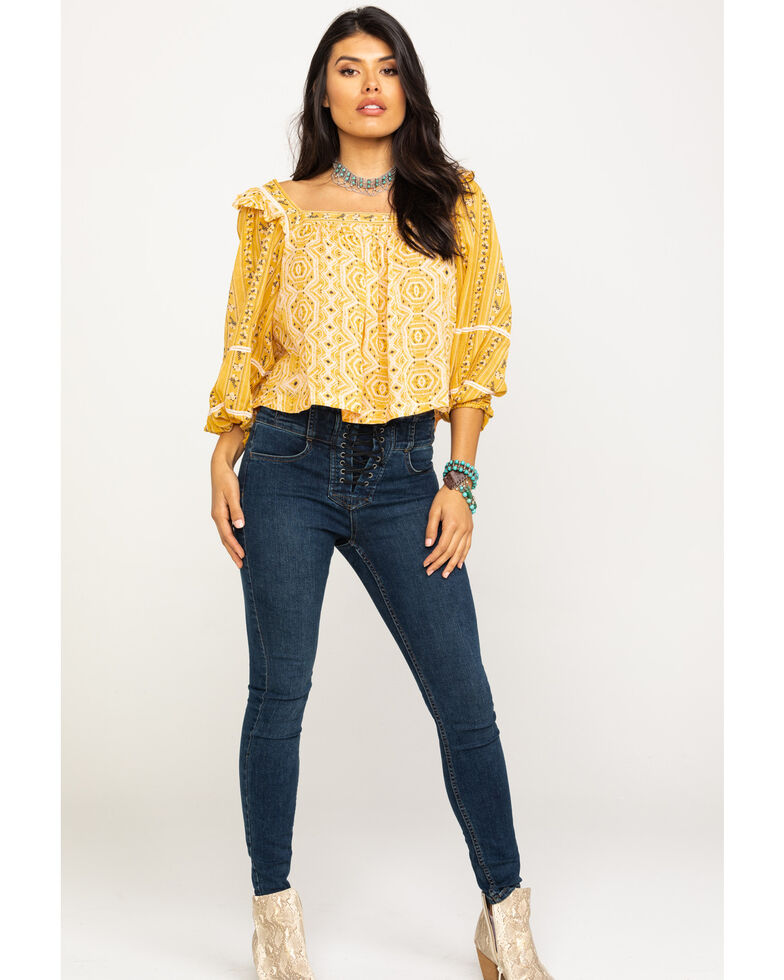 Free People Women's Mostly Meadow Blouse, Yellow, hi-res