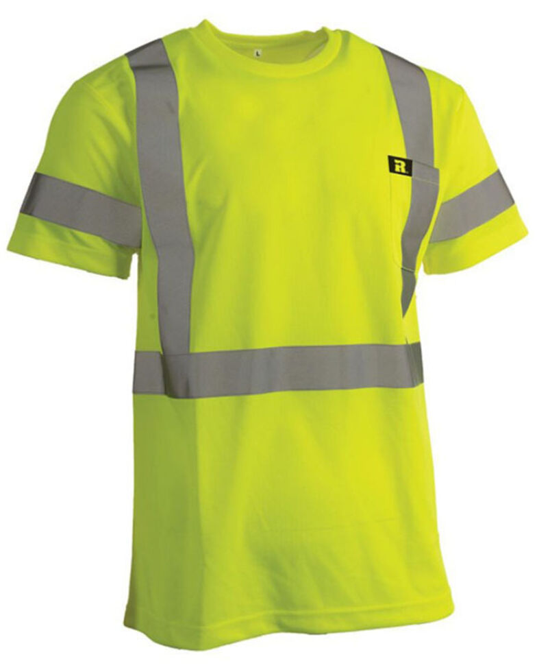 Wrangler Riggs Men's Safety Green High Visibility Short Sleeve Work T-Shirt  , Yellow, hi-res
