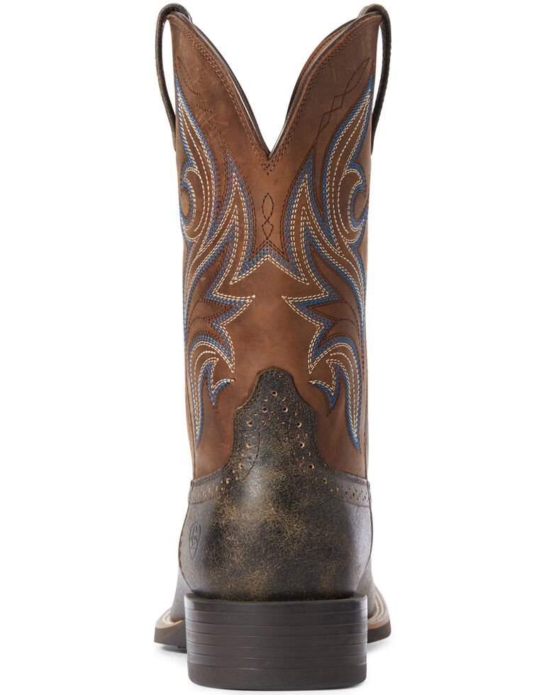 Ariat Men's Brown Sport Knockout Western Boots - Wide Square Toe, Brown, hi-res