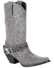 Durango Women's Crush Graphite Flag Harness Western Boots - Snip Toe, Grey, hi-res