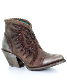 Corral Women's Kelly Fashion Booties - Round Toe, Brown, hi-res