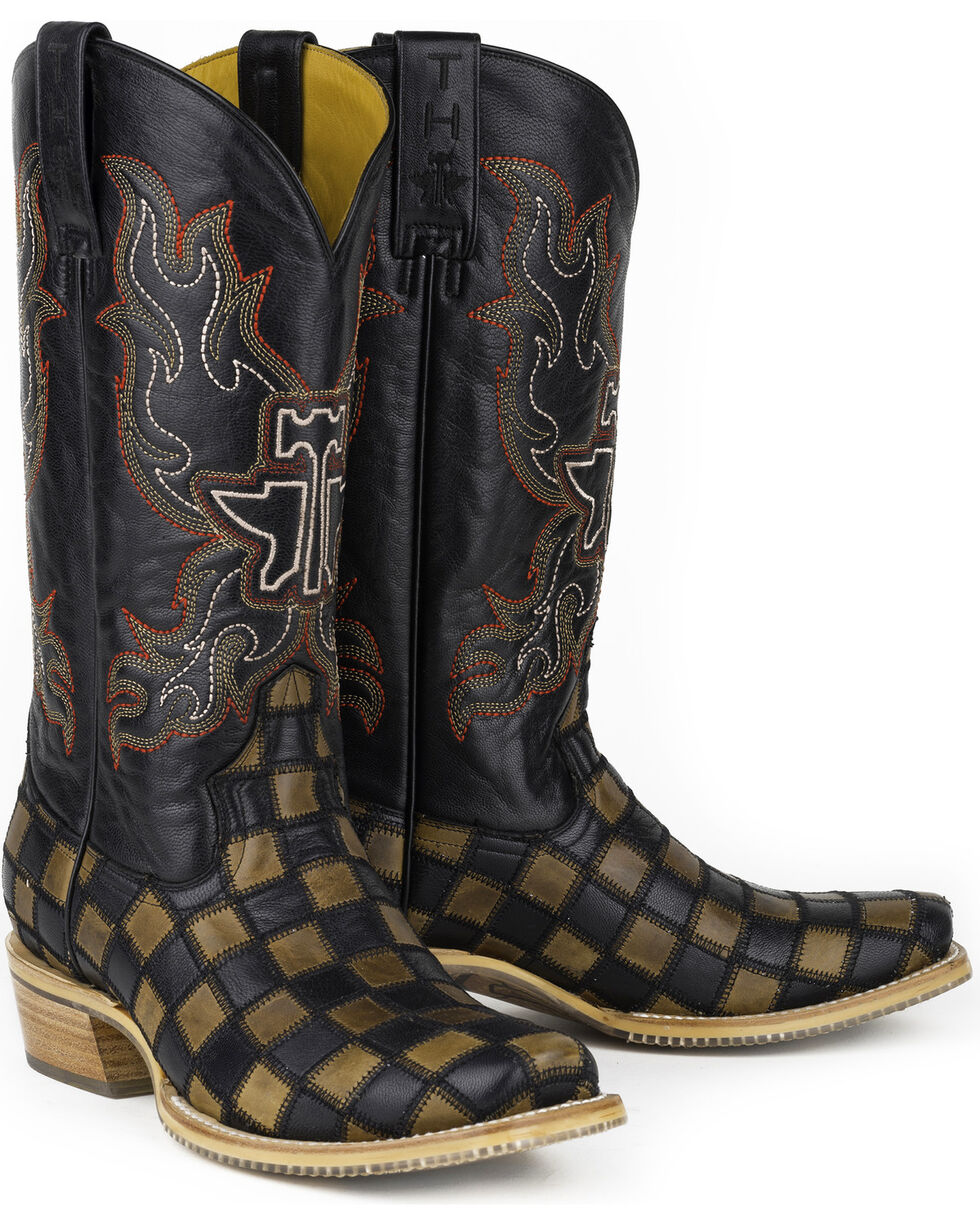 Tin Haul Men's Checkers Coat of Arms Cowboy Boots - Square Toe, Black, hi-res
