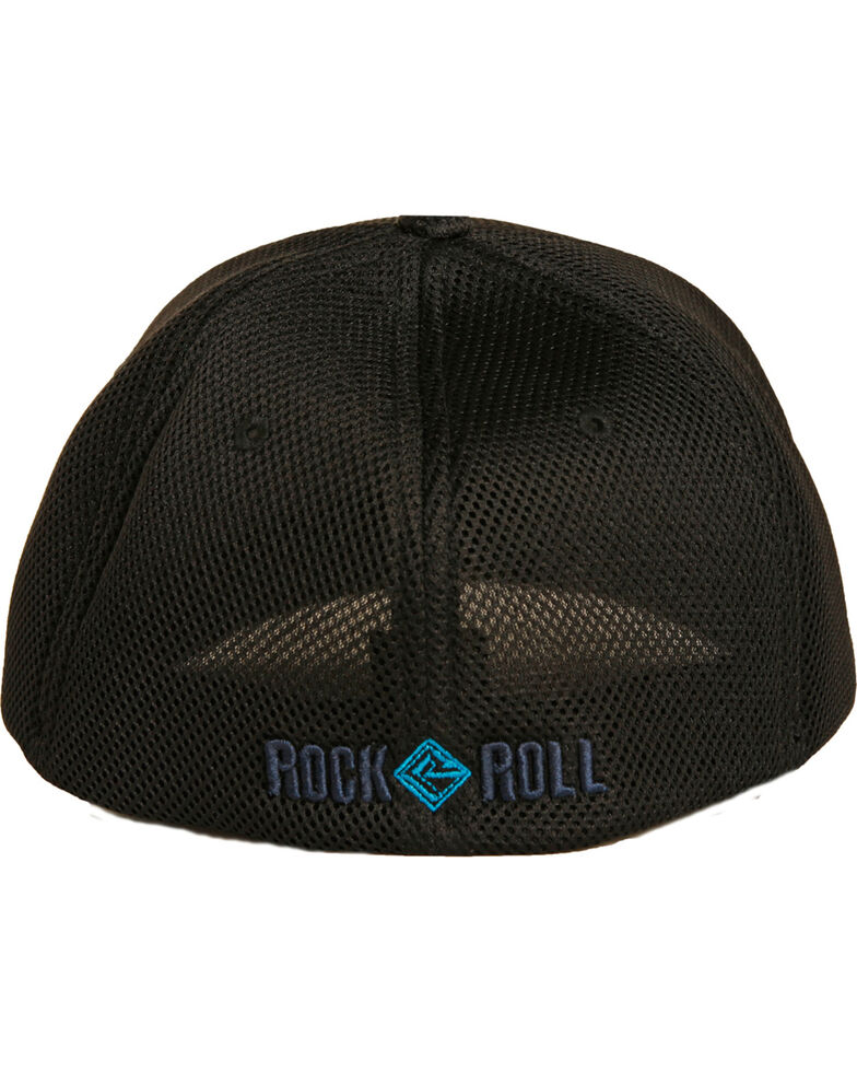 Rock & Roll Cowboy Men's Black Flexfit Sports Mesh Cap , Grey, hi-res