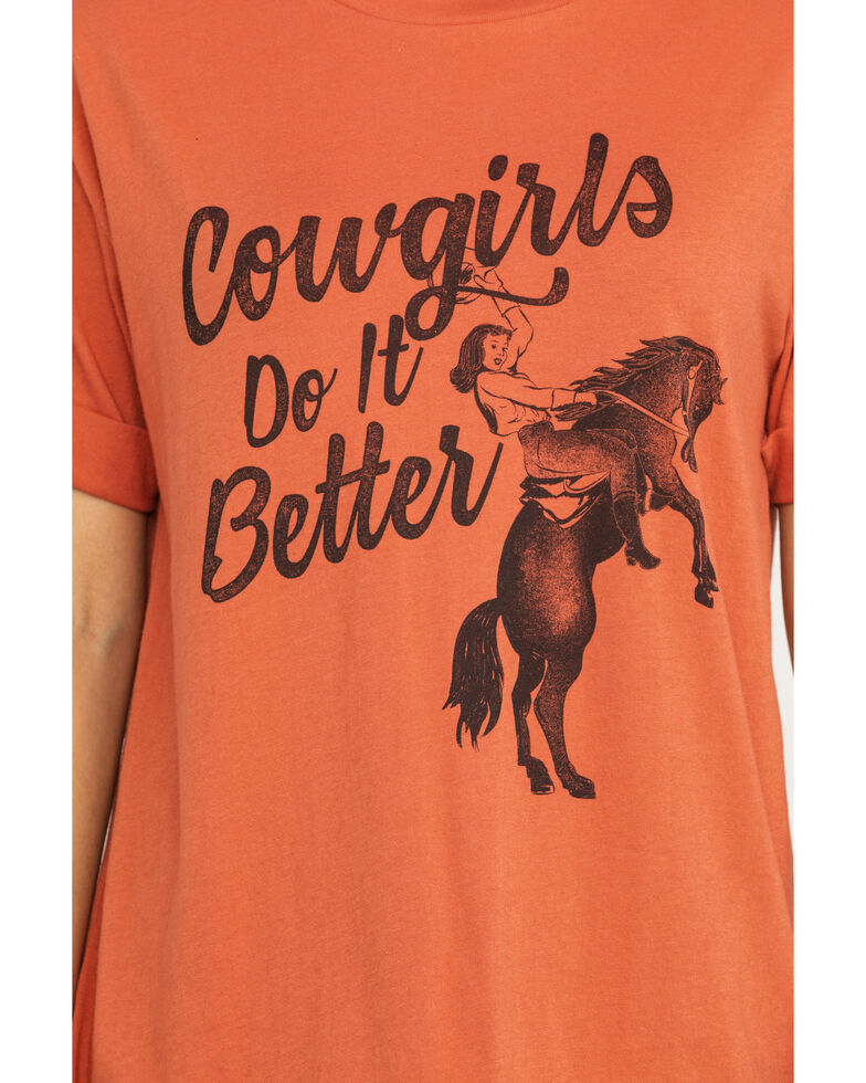 White Crow Women's Rust Cowgirls Do It  Better Roll Cuff Tee, Rust Copper, hi-res