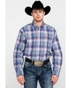 Cinch Men's Multi Med Plaid Long Sleeve Western Shirt , Multi, hi-res
