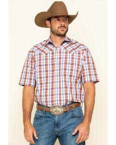 Stetson Men's Desert Dobby Plaid Short Sleeve Western Shirt , Orange, hi-res
