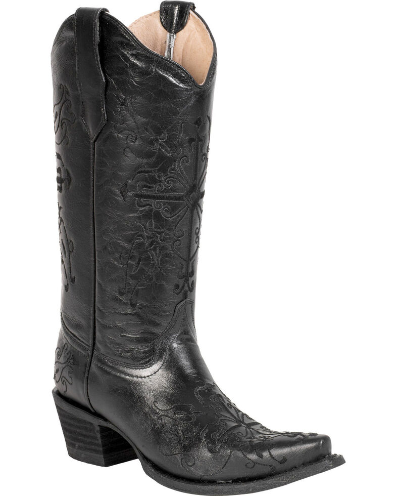 Circle G Cross Embroidered Cowgirl Boots - Snip Toe, Black, hi-res