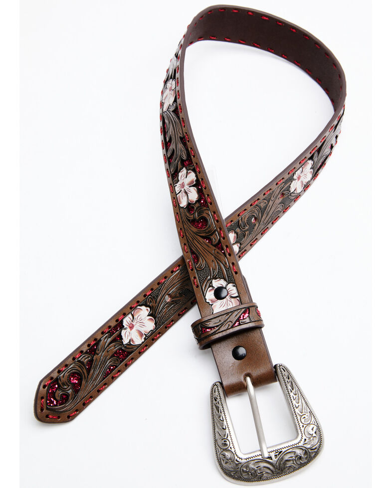 Shyanne Girls' Tooled Floral Pink Glitter Underlay Belt, Brown, hi-res