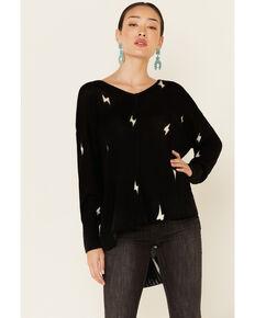 Elan Women's Black Lightening V-Neck Pullover Sweater , Black, hi-res