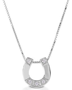 Kelly Herd Women's Small Horseshoe Pendant Necklace, Silver, hi-res