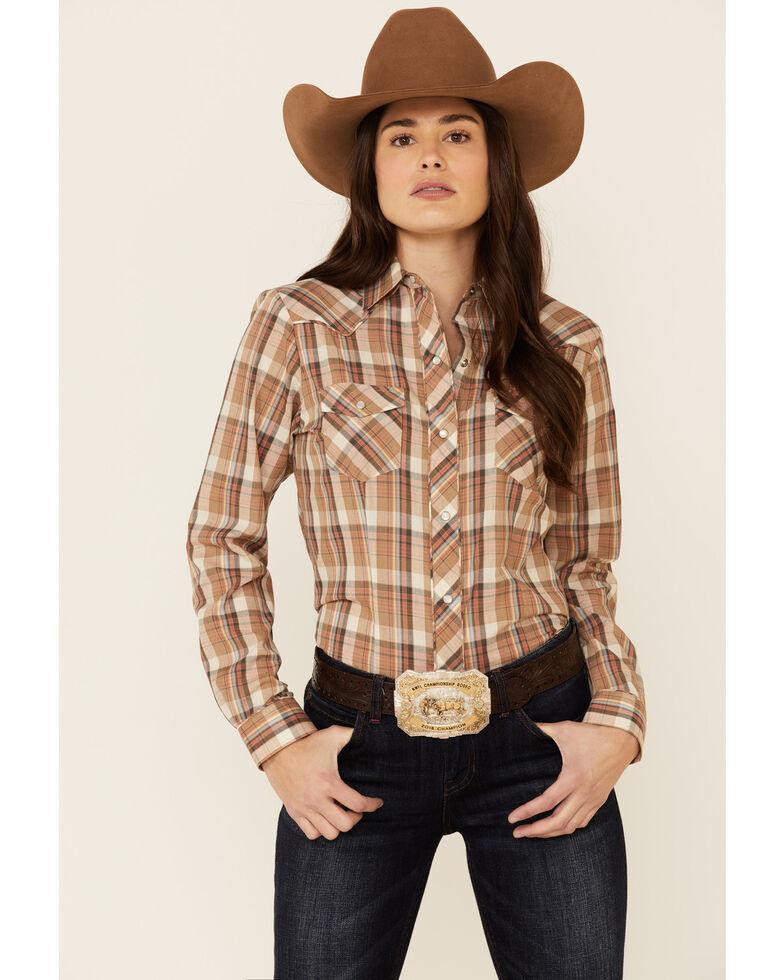 Roper Women's Multi Plaid Embroidered Yoke Long Sleeve Snap Western Core Shirt , Multi, hi-res