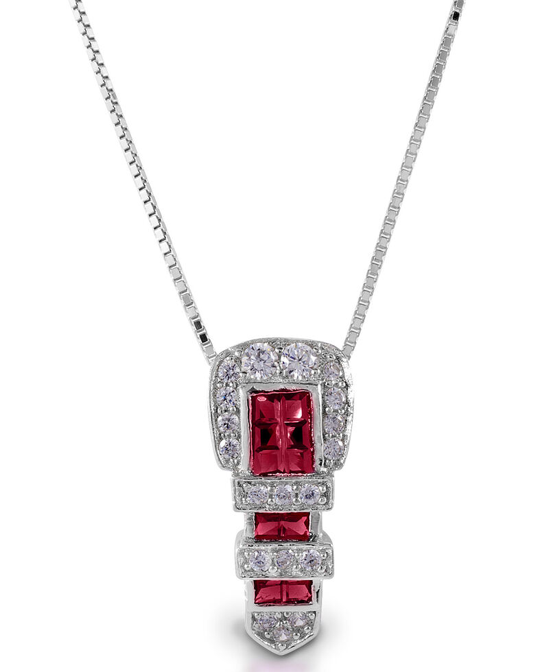 Kelly Herd Women's Red Ranger Style Buckle Pendant Necklace, Silver, hi-res