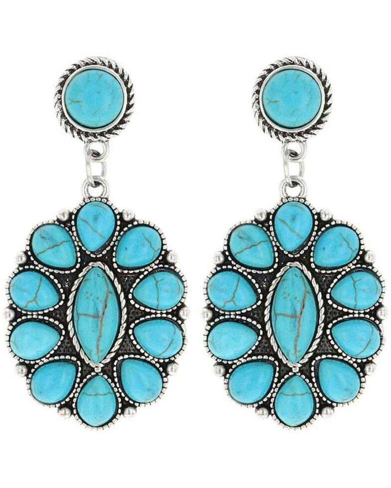 Montana Silversmiths Women's Double Concho Turquoise Earrings, Turquoise, hi-res