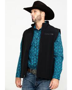 Cinch Men's Black Bonded Softshell Zip Vest - Big , Black, hi-res