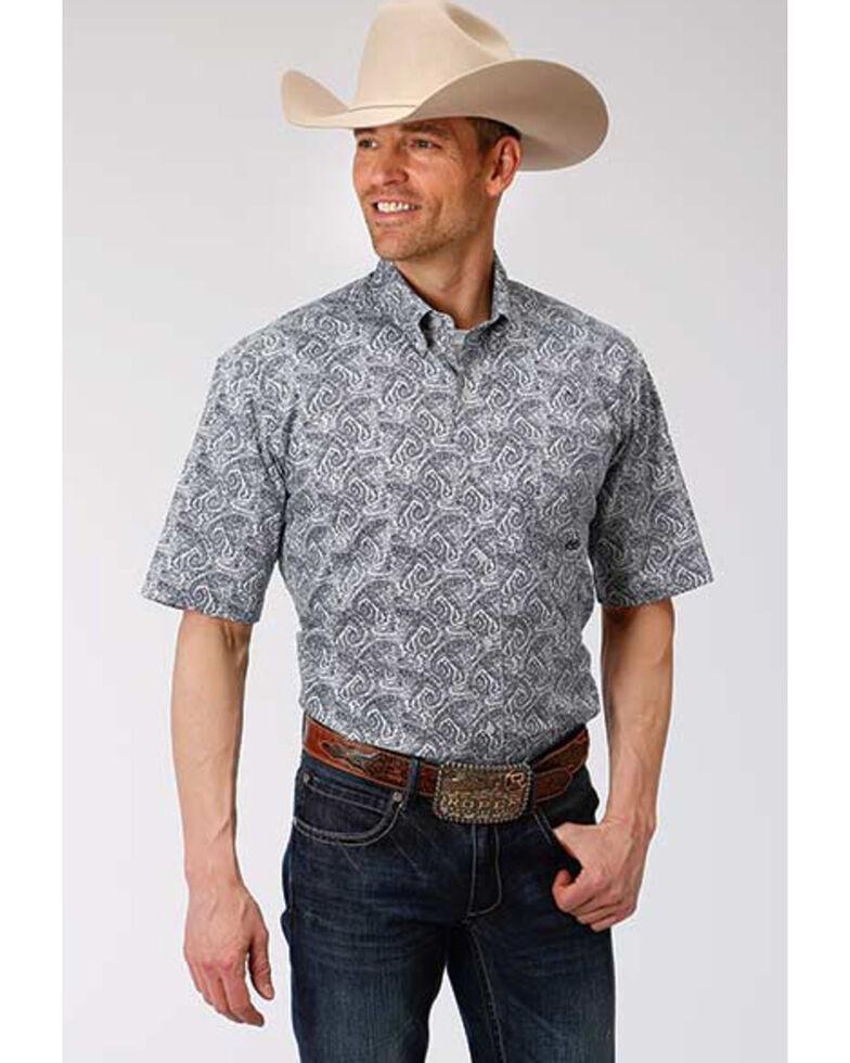 Amarillo Men's Gentlemans Paisley Print Short Sleeve Western Shirt , Blue, hi-res