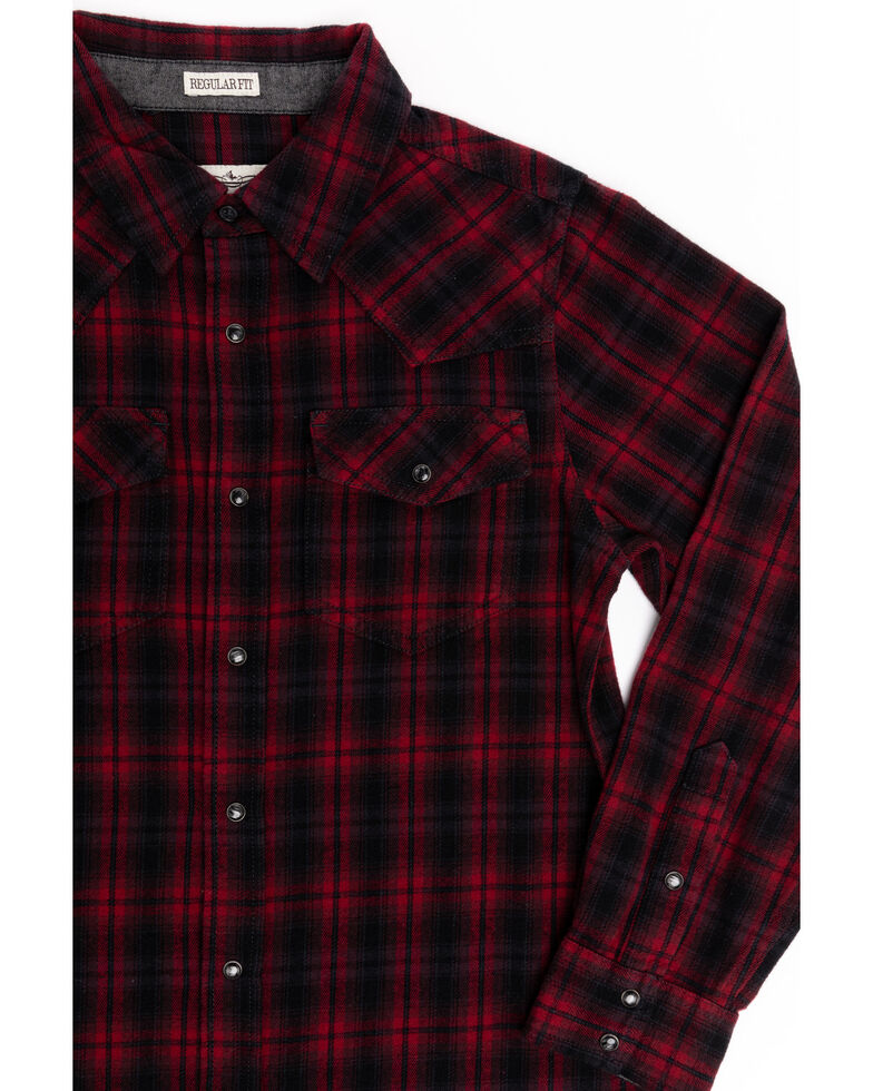 Cody James Boys' Christmas Plaid Long Sleeve Western Flannel Shirt , Black/red, hi-res