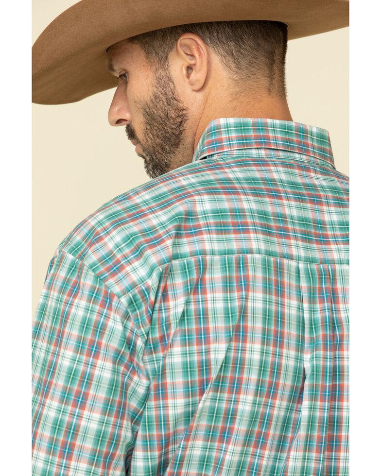 George Strait By Wrangler Men's Teal Med Plaid Long Sleeve Western Shirt - Big , Teal, hi-res