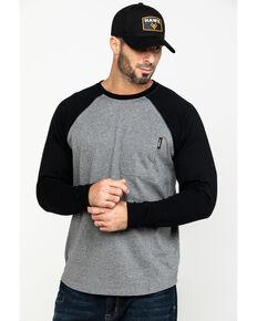 Hawx® Men's Black Baseball Raglan Crew Long Sleeve Work Shirt, Black, hi-res